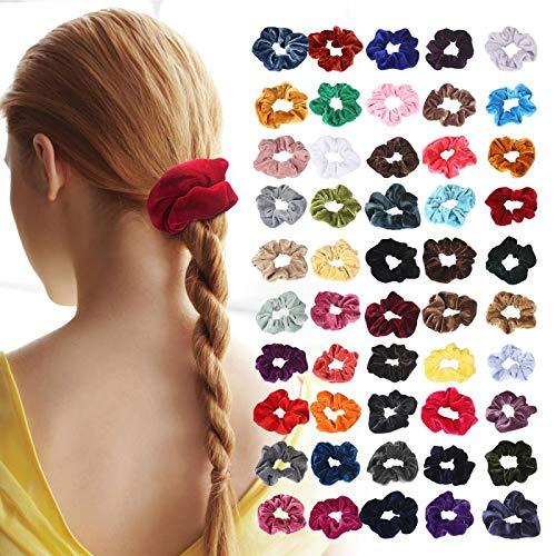 LordFord 50 STÜCK Scrunchies Samt Elastische Haarbänder Haargummis Bobbles Haargummis für Frauen Mädchen mit Geschenktüte Pferdeschwanz Haarband 50 Verschiedene Farben