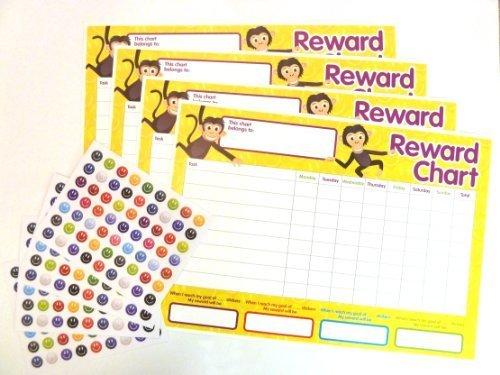 4 x Childrens Reward Charts and 250 Stickers for Rewarding Kids Good Behaviour by Be Creative