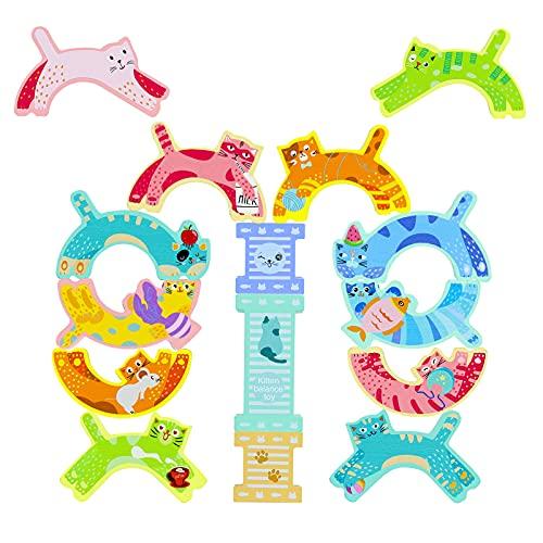 Motorikspielzeug Stapelspiel Holzbausteine Montessori Spielzeug Holzspielzeug Baby Stapeln BalancierspielBausteine Holz Holztiere Lernspielzeug Kinderspielzeug ab 3 4 5 6 Jahren