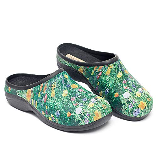 Waterproof Premium Garden Clogs With Arch Support-Meadow Design By Backdoorshoes, Meadow Design, Size 8
