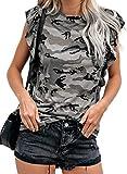 Sidefeel Women Camo Print Crew Neck T-Shirt Ruffled Cap Sleeve Tops Large Gray