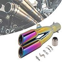 デュアルアウトレットモーターサイクルマフラーエキゾーストパイプ、Φ51mmユニバーサルモディファイドテールスロート、ステンレス製エキゾーストパイプマフラー、騒音低減用,Purple