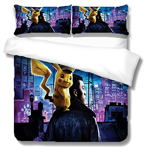 Itscominghome - Juego de cama de matrimonio con funda nórdica de Pikachu estampada en 3D,2 fundas de almohada, 100% microfibra (Pikachu 6,220 x 240 cm)