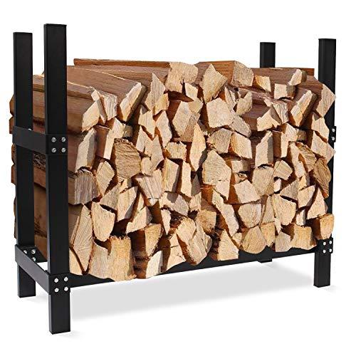 INNO STAGE Firewood Rack 3FT LogHolderforFireplace,Deluxe Lumber Storage,HeavyDuty Wood StorageLog for Indoor/Outdoor Black