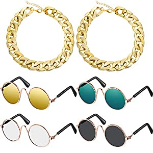 6 Pieces Dog Cat Costume Includes 4 Pairs Pet Sunglasses and 2 Pieces Faux Gold Chain Collar, Funny Cute Pet Accessories for Pet Cat Puppy Small Medium Dog Birthday Cosplay Party Weekend