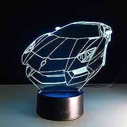 3D-WSJLT CFStore@ 3D LED Color Changing Lamp Punisher Skull Multi-colored Bulbing Light Acrylic 3D Hologram Illusion Desk Lamp for Kids