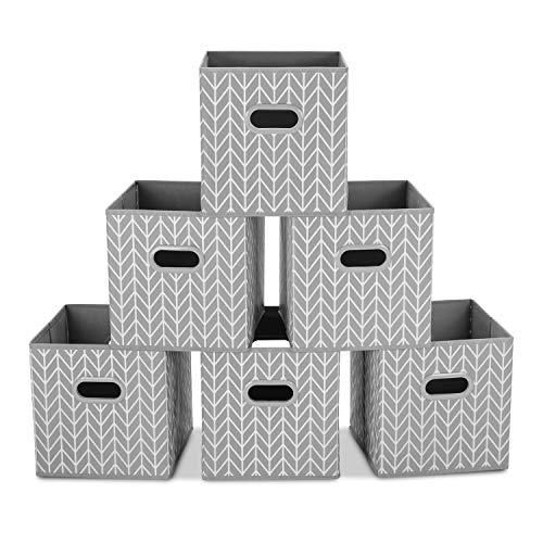 MaidMAX Fabric Storage Box, Set of 6 Foldable Organiser Cubes Basket Bin Drawers Containers with Dual Plastic Handles for Home Office Nursery Organisation, Grey, 26.6 x 26.6 x 27.9(cm)