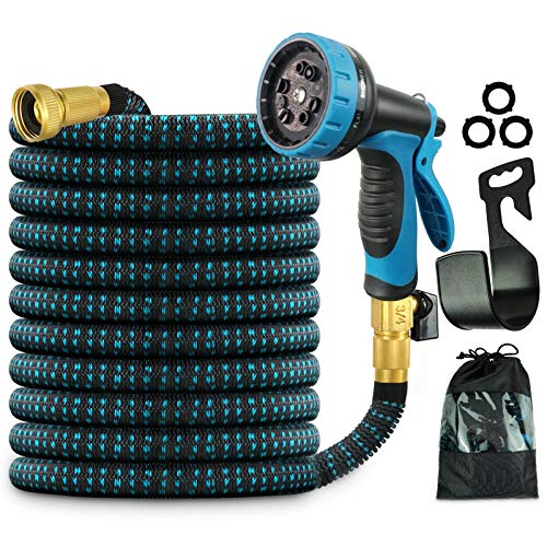 Beaulyn Expandable Garden Hose, 50ft Water Hose with 10 Function Spray Nozzle,3750D and 3/4 Inch Solid Brass Connectors, Best Choice for Watering and Washing