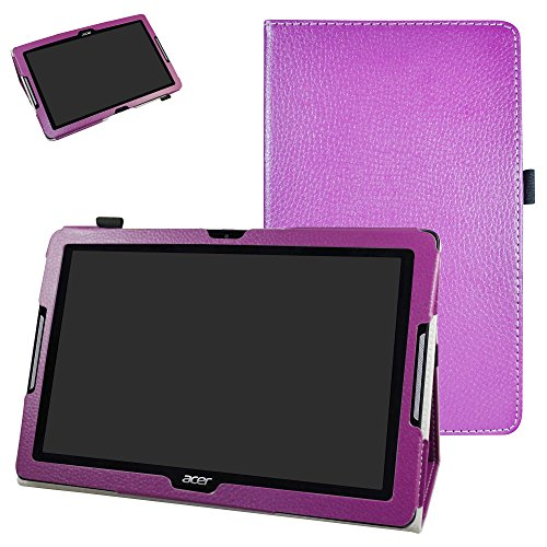 MAMA MOUTH Acer Iconia One 10 B3-A30 Case, PU Leather Folio 2-folding Stand Cover with Stylus Holder for 10.1' Acer Iconia One 10 B3-A30 Android Tablet,Purple