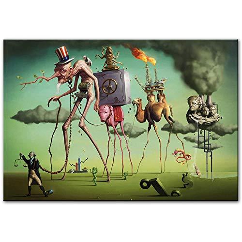 'El sueño americano' de Salvador Dali Lienzos Reproducción de obras de arte famosas Pinturas al óleo abstractas Cuadros de arte de pared 50x90cm (20x35in) Con marco