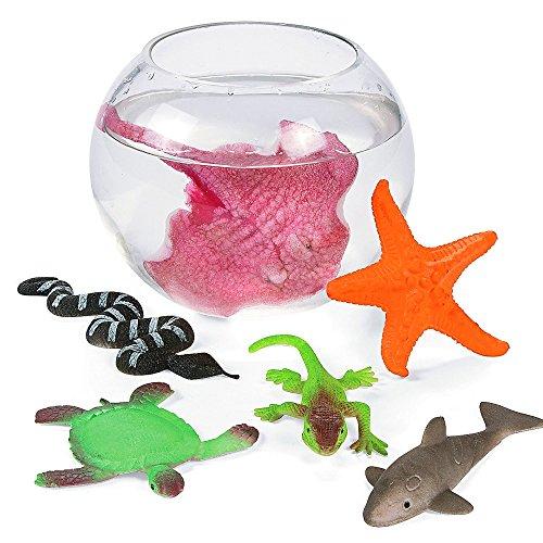 Elfen und Zwerge 6X Große Meerestiere wachsend Gummitiere Ozean Figuren Adventskalender Tierfigur Grow Seestern Hai Echse