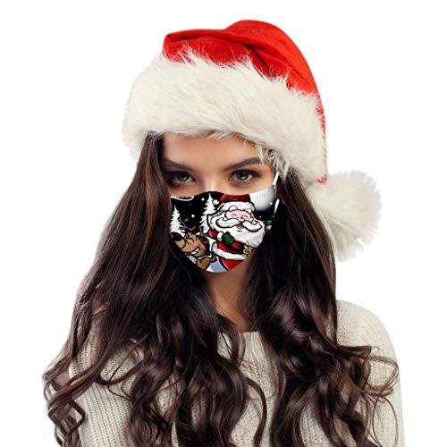 LUCKME 50 Stück Mund und Nasenschutz einweg mit Weihnachtsdruck Bandana Multifunktionstuch Halstuch für Damen und Herren
