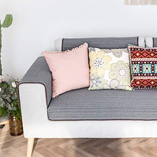 TopJi Sofa-overtrek geweven grijs, 1 stuk, katoen alle seizoenen anti-slip sofa cover voor stoel, liefdestoel hoekbank 90x70cm donkergrijs/grijs