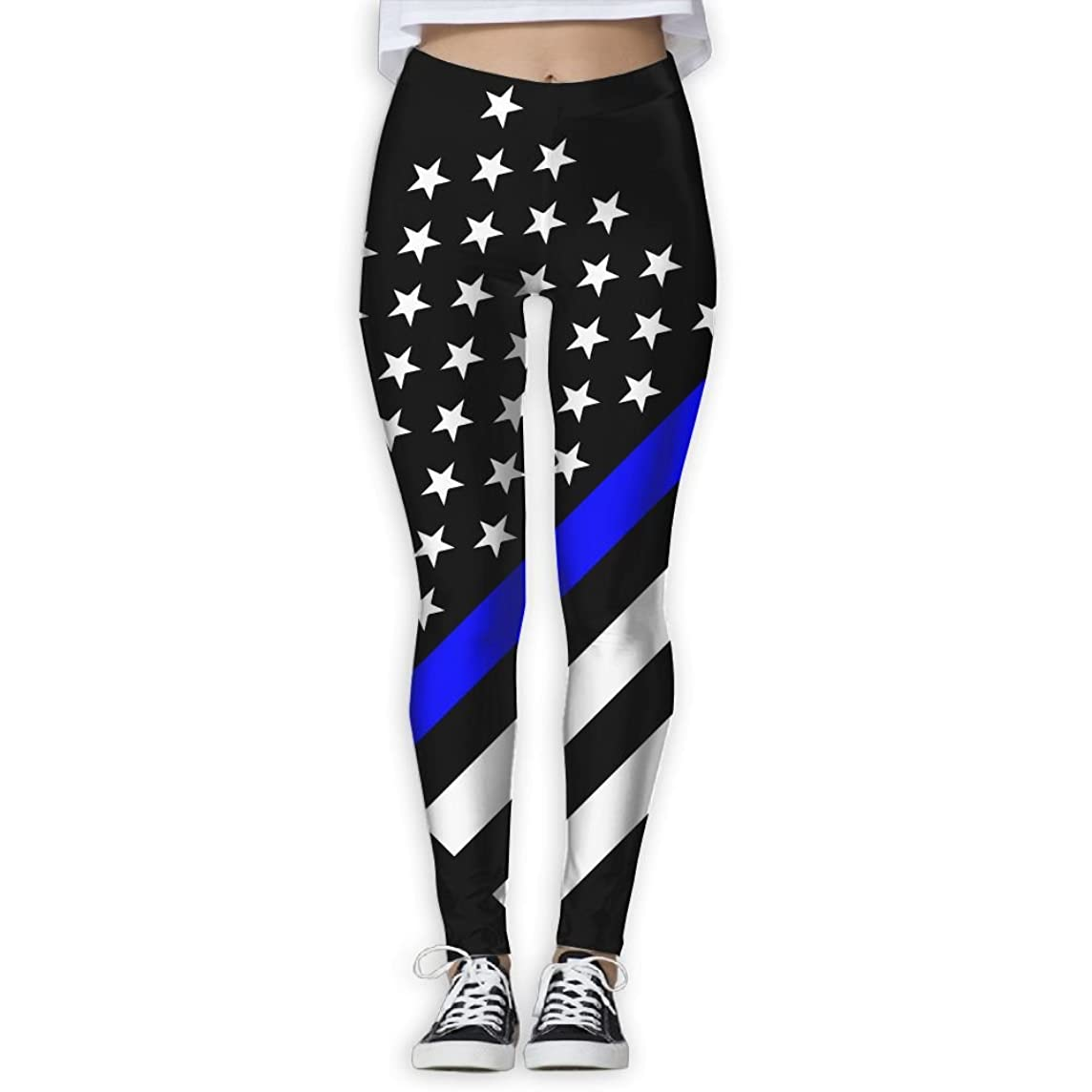 Blue Thin Line Us Flag Women's Full-Length Sports Running Yoga Workout Leggings Pants Stretchable M