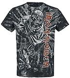 Iron Maiden Piece of Mind Spiral Hombre Camiseta Negro-Blanco M, 100% algodón, Vintage Regular