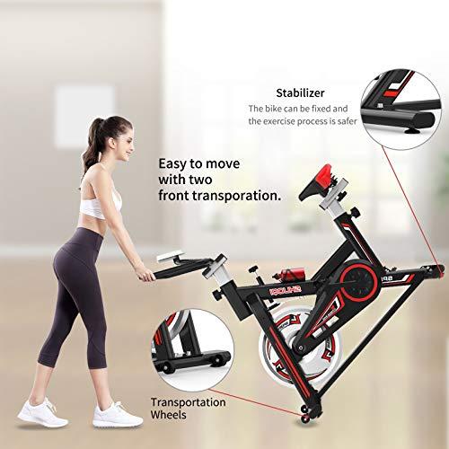 513PanC4dKL - SHUOQI Bicicleta estáticas para Fitness, Bici de Spinning, Calidad Profesional, Rueda de inercia bidireccional,Transmisión por Cadena Fija,Asiento Ajustable, Pantalla LCD