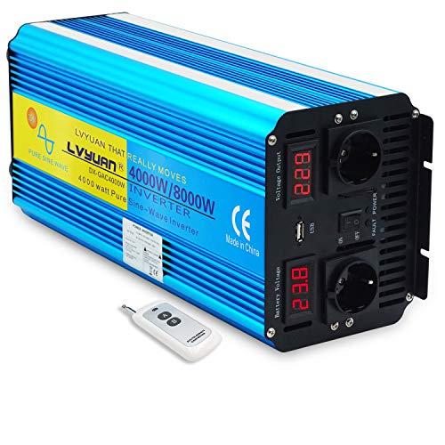 LVYUAN Wechselrichter 24V 230V 4000W /8000W Spannungswandler mit drahtloser Fernbedienung, 2 Steckdose 1 USB und LED-Display