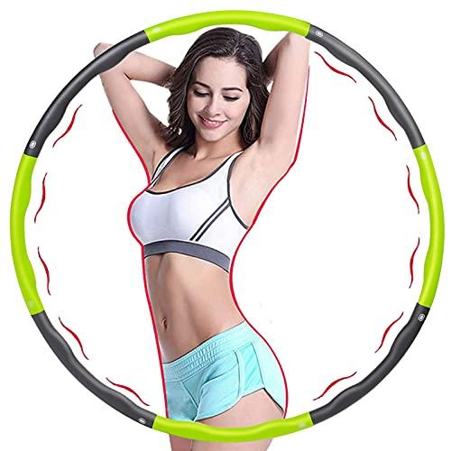smatoy Aro de hula hoop, para adultos, 6 – 8 secciones desmontables, adecuado para adultos y niños, aro de hula hoop para fitness, deporte, casa, oficina, moldeamiento de abdomen, 1.2 kg