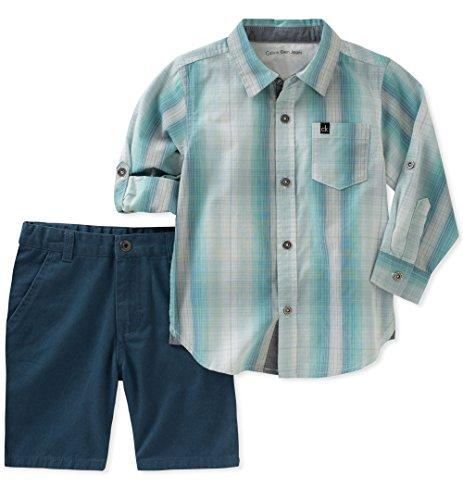 Calvin Klein Baby Boys 2 Pieces Long Sleeves Shirt Set Shorts, Mint Green, 12M