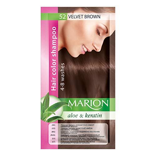 Marion. Champú de color para el cabello en bolsita, duración de 4a 8lavados, con áloe y queratina, color semipermanente