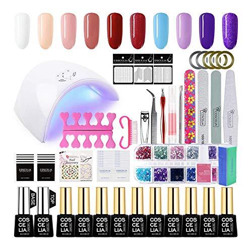Coscelia UV Nagellack Set 36w UV+LED Doppellichtquelle Lampe UV-Lack Set 10 Stücke Gellack Set für Maniküre UV Gel Nägel für Nageldesign Farbgel Gel Lacken Set