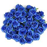 Kesote 50 pcs Fleur Artificielle Tête de Rose artificielles Roses pour décoration de fête de Mariage Album Décoration de la Maison 40mm Bleu