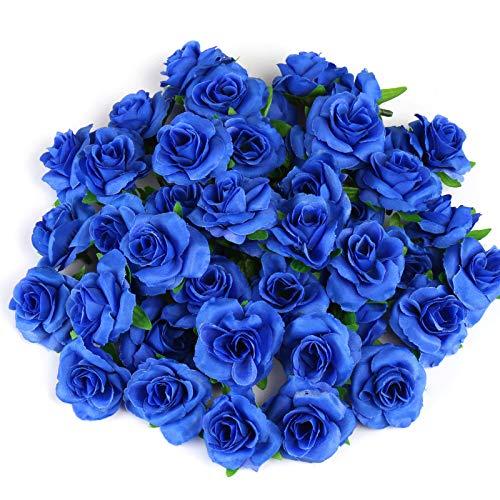 Kesote 50 Stück Künstliche Blumenköpfe Blütenköpfe Kunst Blumen Rosen Köpfe für Hochzeit Party Deko DIY (Ø 4cm, Blau)