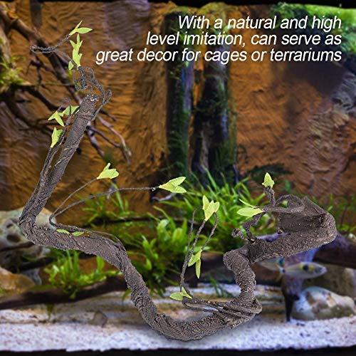 HEEPDD Reptiel Wijnstok, Kunstmatige Rotan Klimmen Jungle Forest Bend Tak Terrarium Kooi Habitat Decor voor Hagedis Spin Kameleon Slangen Gecko Andere Kleine Dieren, S