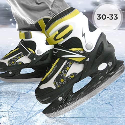 Physionics Kinder Eishockey Schlittschuhe für Erwachsene - mit flexiblem Oberflächenmaterial, verstellbar, in Größe 30/33, für Anfänger und Fortgeschrittene -...