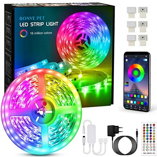 Tiras Led, Bonve Pet 6M Luces Led RGB 5050 Luces Led Habitación Controlas con App y Control Remoto, Tiras led RGB 12V, 16 Milliones de Colores, 28 Modos, Tira de luz para Decoración Dormitorio Cocina