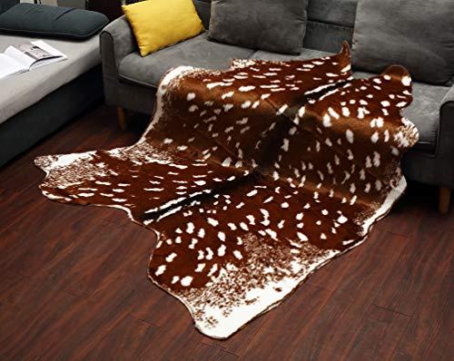 Alfombra de cuero de vaca blanca y negra piel de vaca ocultar área alfombra 86 x103cm para ciervos caseros