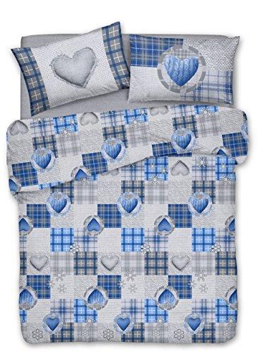 Smartsupershop Housse de couette avec taies d'oreiller pour lit double 250 x 200 cm – Cœurs d'automne bleu – en coton fabriqué en Italie