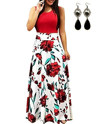 UUAISSO Mujer Vestido Fiesta Largo Manga Larga Floral Print Casual Verano Maxi Vestidos Playa Vacaciones L-Rojo-Sin Mangas 3XL