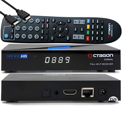 OCTAGON SX889 WL HD H.265 IP HEVC Set-Top Box - Receptor de Internet SmartTV, reproductor multimedia, DLNA, radio web, aplicación iOS y Android, USB PVR, 150 Mbits WiFi integrado + EasyMouse HDMI