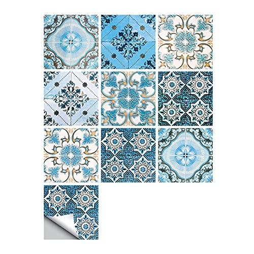 Vinilos para azulejos de pared 10 unids/Set Floral Ornament Arabesque Etiqueta de la pared Cocina Cerámica Cerámica Muro Vinilo Tile Suelo Arte Mural Aislamiento térmico