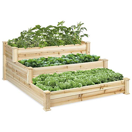 Best Choice Products 3 Tier Wooden Raised Elevated Vegetable Garden Bed Planter Kit for Outdoor Gardening -Natural