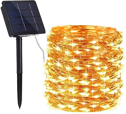 Qedertek Solar Lichterkette Aussen, 24M 240 LED Kupferdraht Weihnachtsbaum Lichterkette, 8 Modi Wasserdicht Solarlichterkette, Weihnachtsbeleuchtung außen für Party, Hochzeit, Garten (Warmweiß)