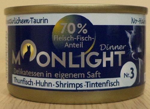 12x80g Moonlight Dinner Katzenfutter Dosen Nassfutter (Nr.3 Thunfisch Huhn Shrimps Tintenfisch)