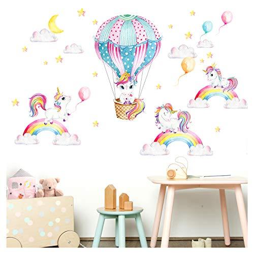 Little Deco Wandtattoo Einhörner Regenbogen & Heißluftballon I Wandbild 143 x 84 cm (BxH) I Sticker Mond und Sterne Kinderzimmer Aufkleber Mädchenzimmer Baby DL532