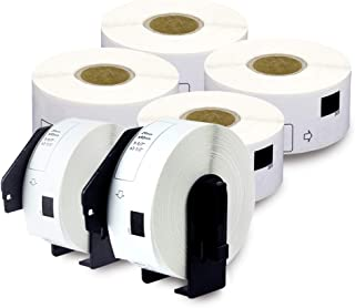enKo - Compatible for Brother DK-1201 (1.1 inch x 3.5 inch) Address Barcode Replacement Labels - 6 Rolls + 2 Refillable Ca...