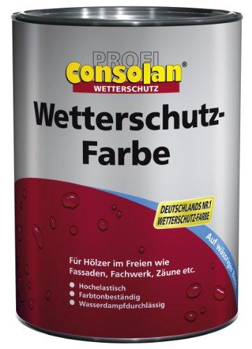 Consolan Profi Wetterschutzfarbe Holzschutz außen 2,5 Liter, Schwedenrot