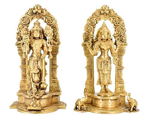 Estatua de Lord Vishnu y Lakshmi de latón de ballena blanca Idol Murti para decoración del hogar Mandir Pooja tallado marco con Kirůka