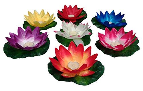 GW Handels UG 10 Stück Wasserlaterne Lotusblüte Seerose Schwimmlaterne Schwimmkerzen Laterne Outdoor Teelichter Kerzen Bunt Schwimmlichter Deko Windlicht