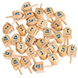 Spin The Dreidel, 30 Pack - Natural Wood Hanukkah Holiday Spinning Tops in Bulk - Classic Traditional Toys, Novelty Party Favor Gifts, & Games for Kids - English Translation & Instructions Included