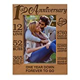 KATE POSH - Our 1st Anniversary Picture Frame - 12 Months Engraved Natural Wood Photo Frame - First (1st), Paper, 1 Year as Husband and Wife (5x7-Vertical)