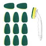 12 PCS vaisselle éponge avec poignée Scrub Brosse de nettoyage robuste plat Baguette pour la cuisine, évier, salle de bains, Brosse de nettoyage Replaceable