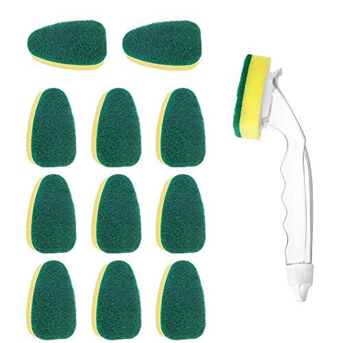 Sponges Kitchen Washing Up Sponge with Liquid Handle Scouring Pad Dishwashing Sponge Cleaning Brush Heavy Duty Dish Wand