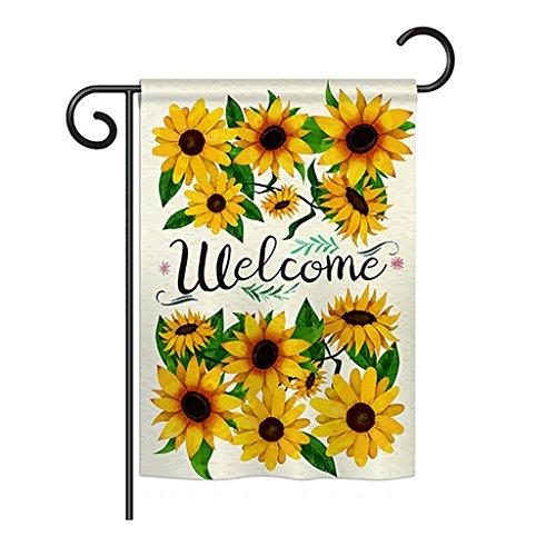 N / A Floral Welcome Sunflowers Bouquet Garden Flag Set con Soporte Primavera Pequeño Regalo Decorativo Yard House Banner Doble Cara Hecho en EE. UU. 12 .5X 18