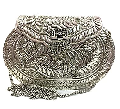 Trend Overseas Silver Women Metal Sling bag Party clutch Ethnic Clutch Bridal Christmas gift