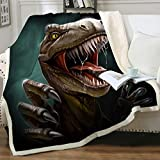 Sleepwish Sherpa Throw Blanket for Couch Sofa and Chair, Boys Dinosaur Blankets and Throws Super Soft Reversible Cozy and Plush (T-Rex Teeth,Twin 60'x80')